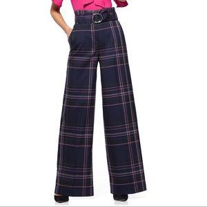 7th Avenue Paperbag Waist Plaid Pants